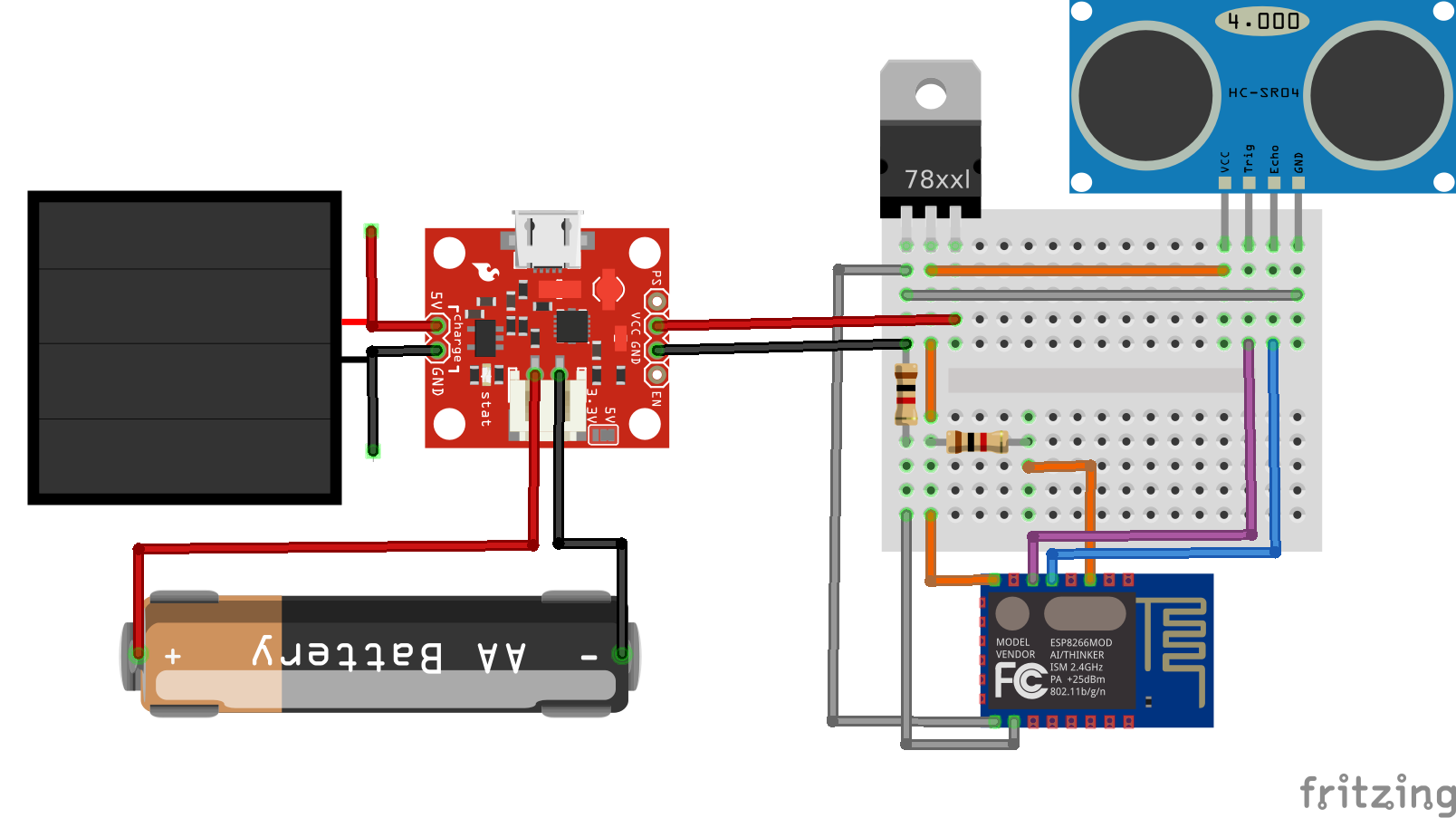 Solar Powered Water Level Sensor Module using ESP8266